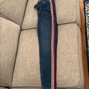 Topshop stripe Jamie Jeans